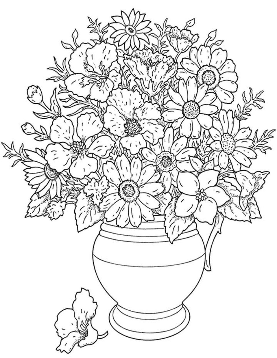 Hard Coloring Pages Printable Free A Pot of Flowers