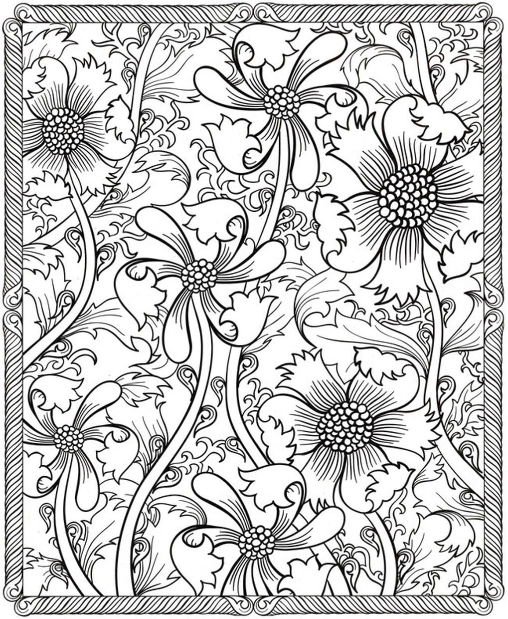 Hard Coloring Pages Printable Free Abstract Floral Design