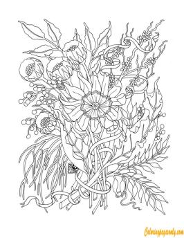 Hard Coloring Pages for Adults A Bunch of Flowers