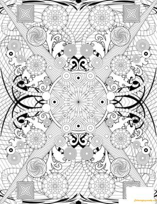Hard Coloring Pages for Adults Rosette Intricate Pattern