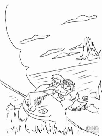 How to Train Your Dragon Coloring Pages Hiccup and Astrid Flying with a Dragon