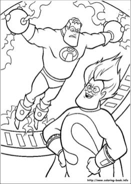 Incredibles Coloring Pages Free Mr. Incredible Caught by Syndrome