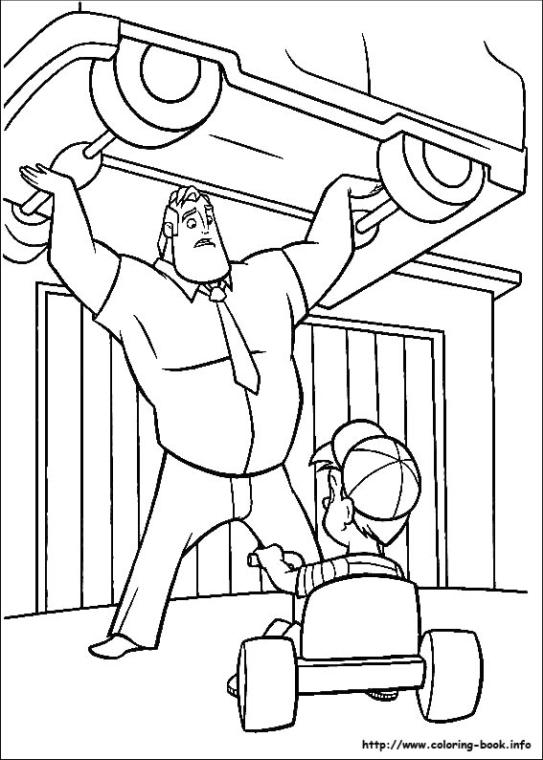 Incredibles Coloring Pages Free Mr. Incredible Lifting a Whole Car