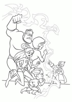 Incredibles Coloring Pages The Whole Family Against Syndrome