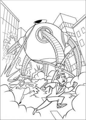 Incredibles Coloring Pages for Kids Syndrome Robot Destroying the City