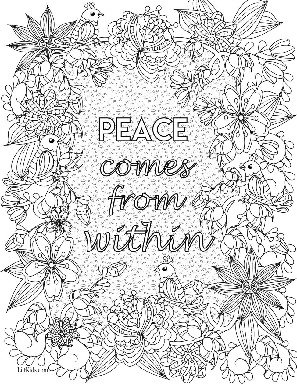 Inspirational Coloring Pages Peace Comes from Within