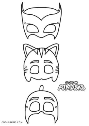 PJ Masks Coloring Pages Black and White The Masks of the Heroes