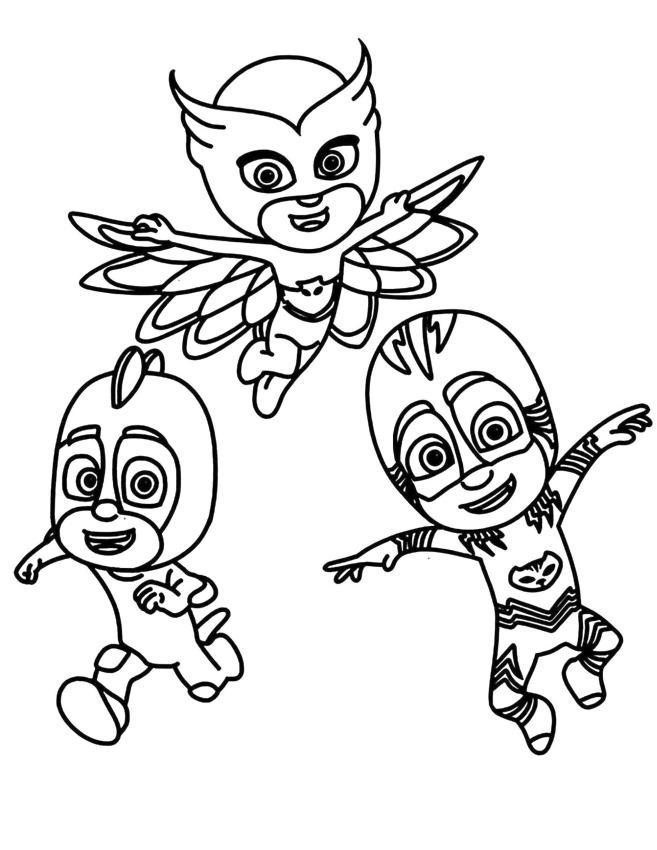 PJ Masks Coloring Pages Printable Happy Kid Heroes in Pajama