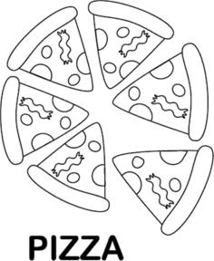 Pizza Coloring Pages Printable Six Slices of Pizza