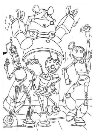 Robot Coloring Book Pages Robots Having Fun in A Party