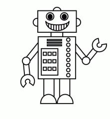 Robot Coloring Page Images Simple Robot Printable for Kid