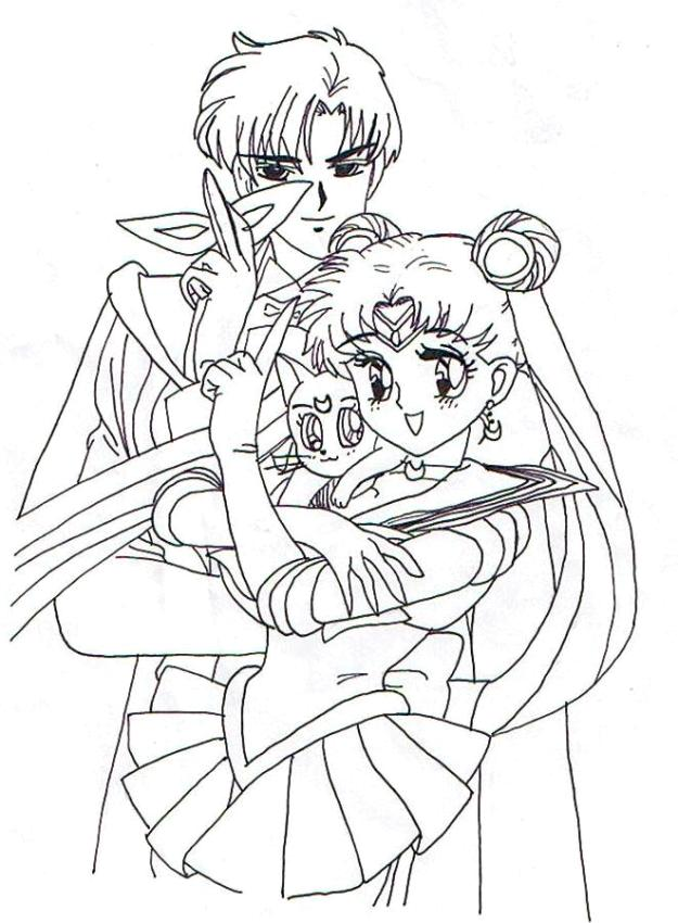 Sailor Moon Coloring Pages Free Sailor Moon and the Tuxedo Mask