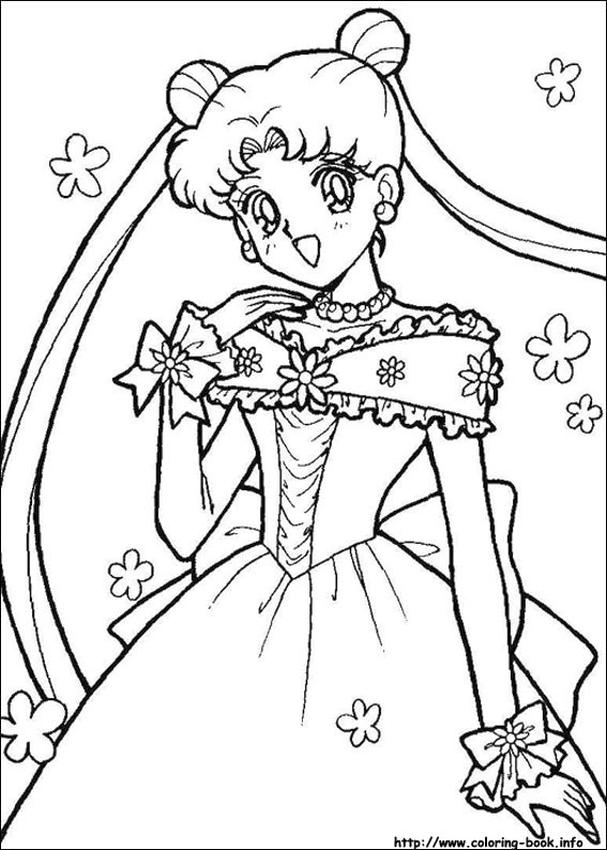 Sailor Moon and Friends Coloring Pages Usagi Wedding Dress