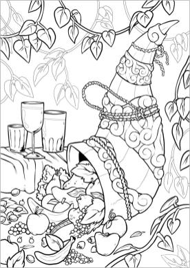 Thanksgiving Adult Coloring Pages Cornucopia Filled with Fresh Fruits
