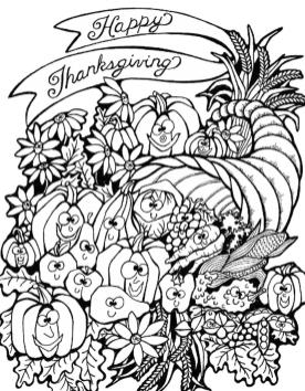 Thanksgiving Adult Coloring Pages Smiling Happy Crops