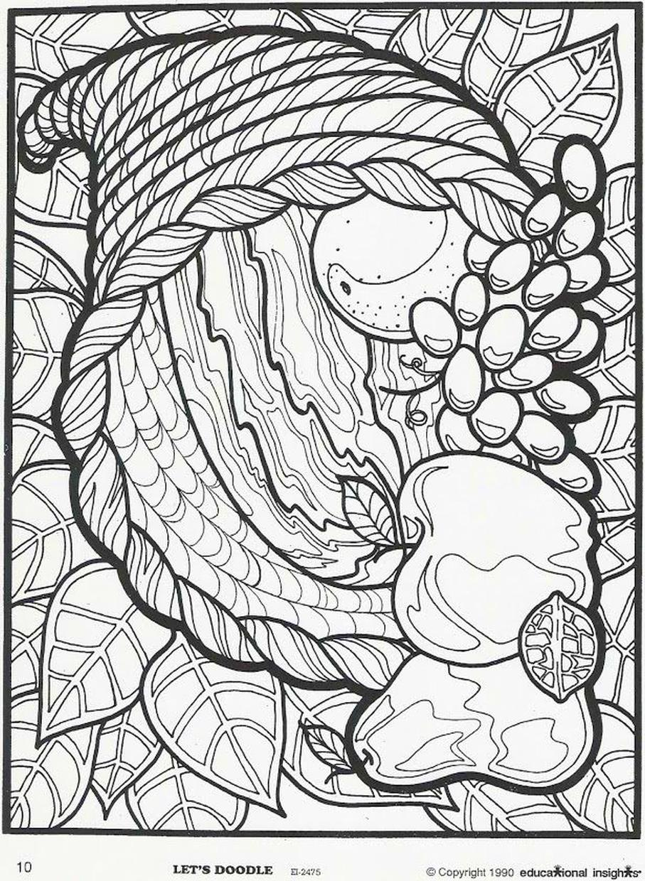 Thanksgiving Coloring Pages for Adult Free Printable Cornucopia Full of Fruits