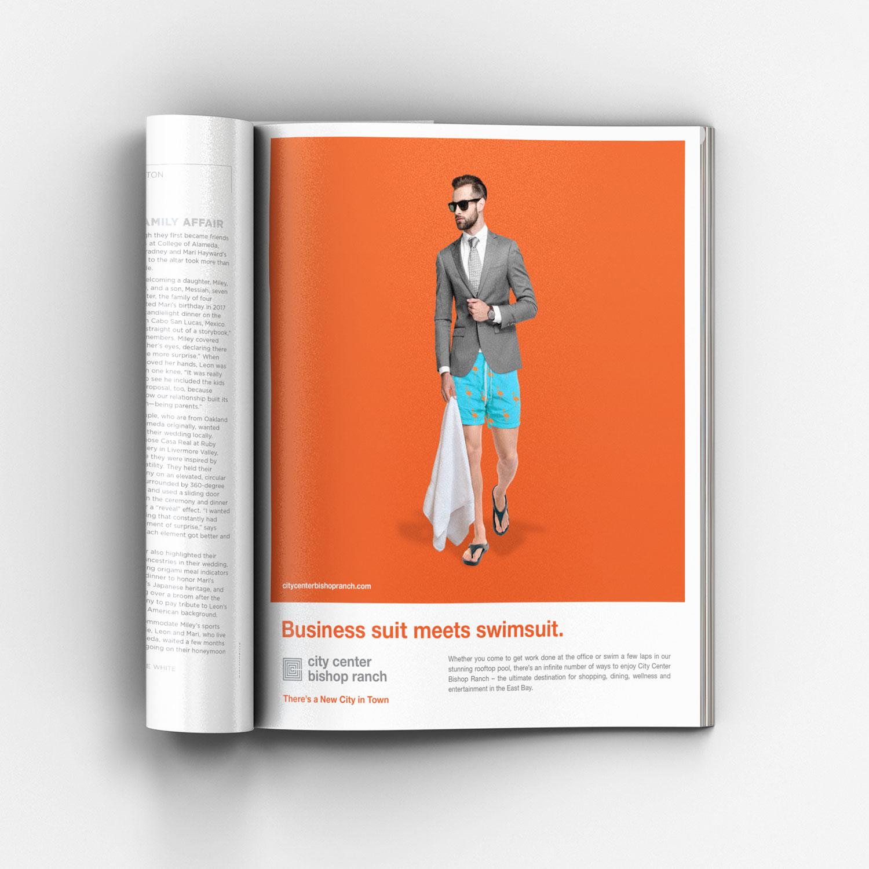 Business suit meets swimsuit ad