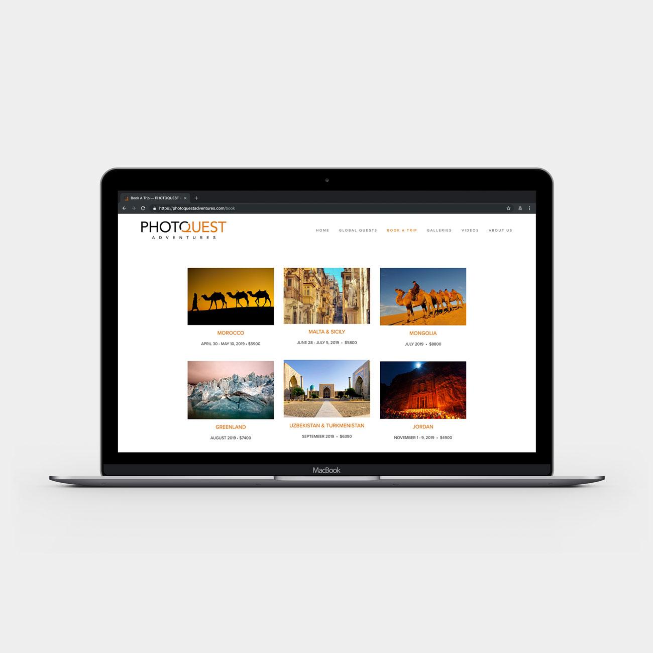 PhotoQuest website on laptop