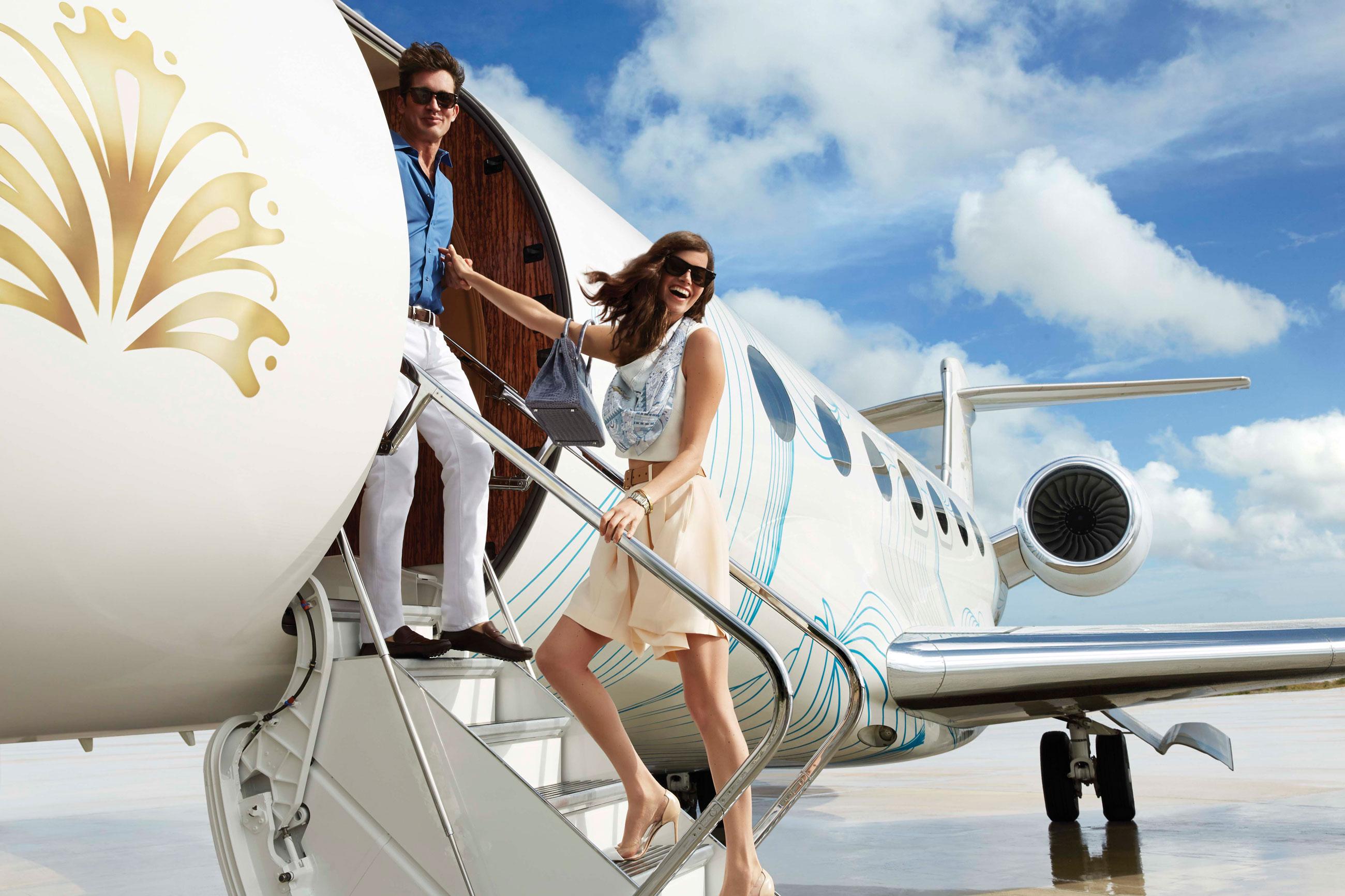 Boarding private plane