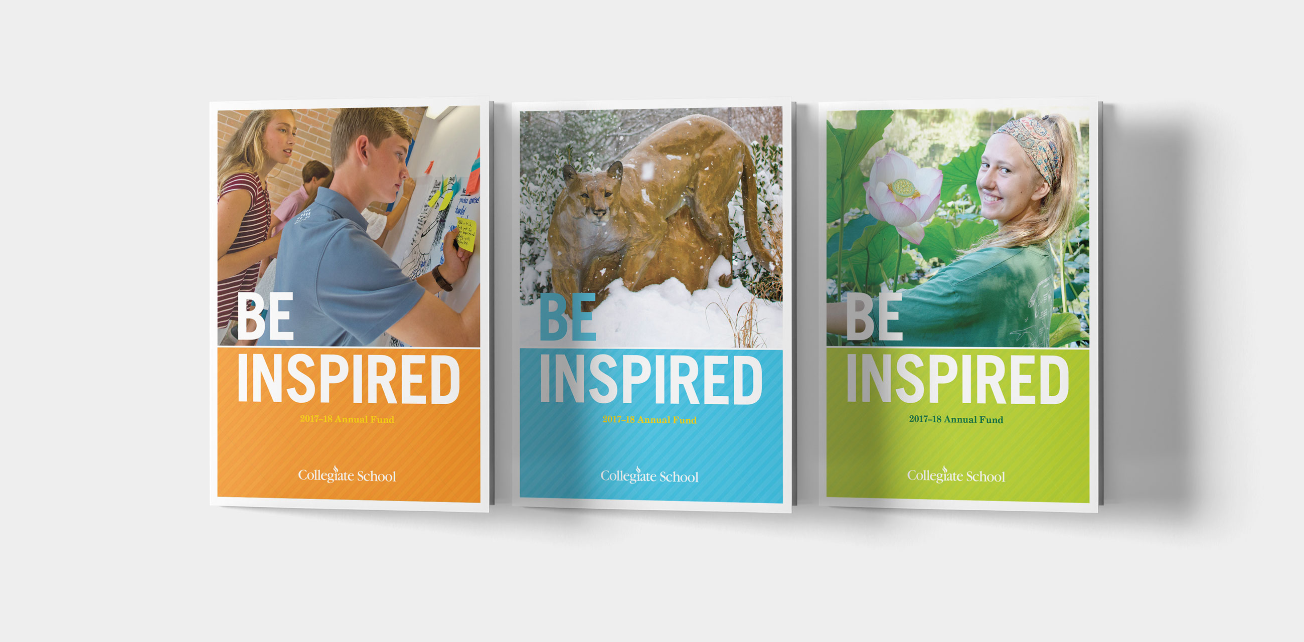 Three 'Be Inspired' brochure covers
