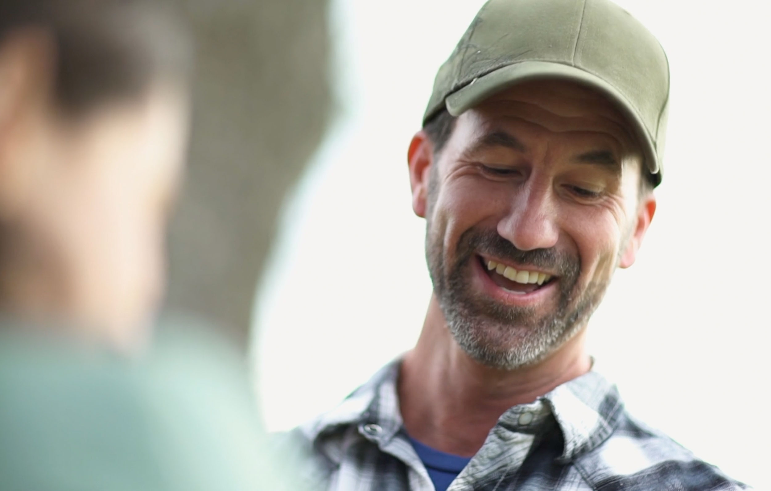 Farmer smiles