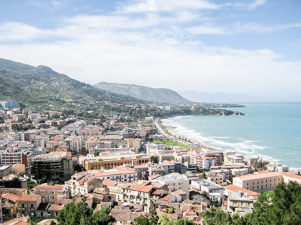Vista of Cefalu, Sicily in Italy