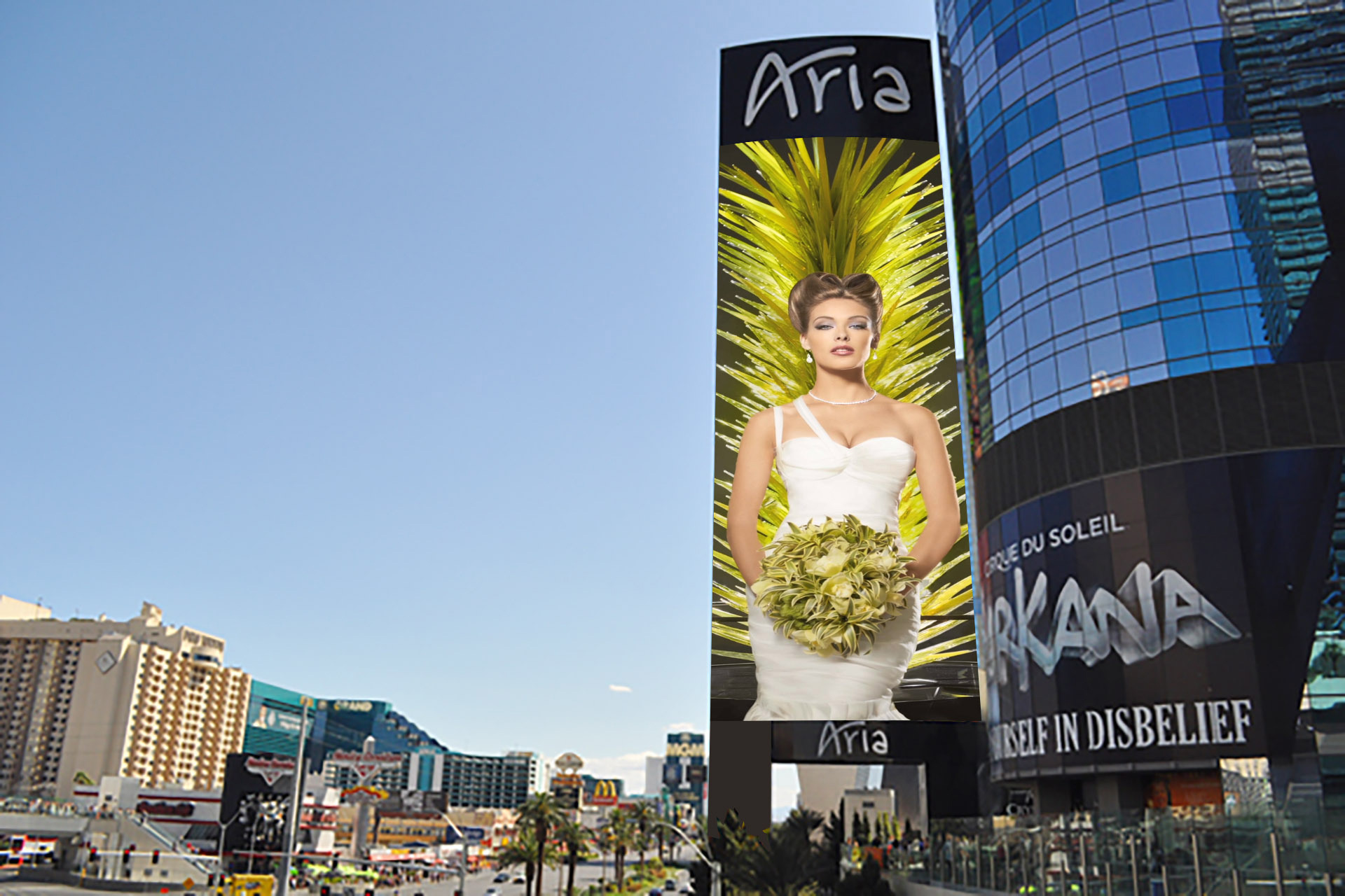 Aria wedding ad on outdoor display