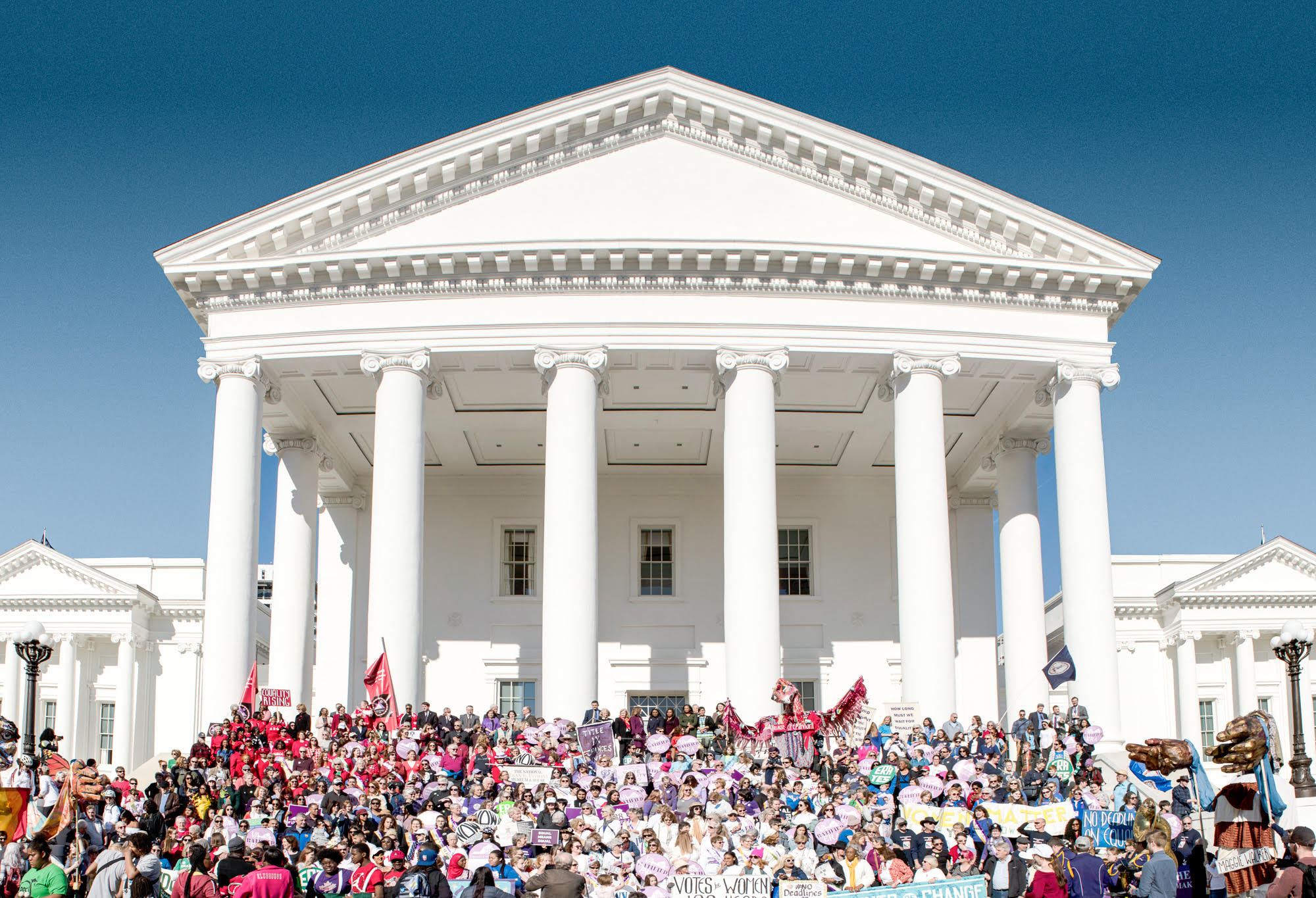 Marchers on steps of VA State Capitol building