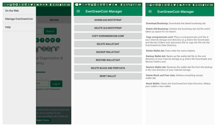 EverGreenCoin Manager App for Android EverGreenCoin-Qt App