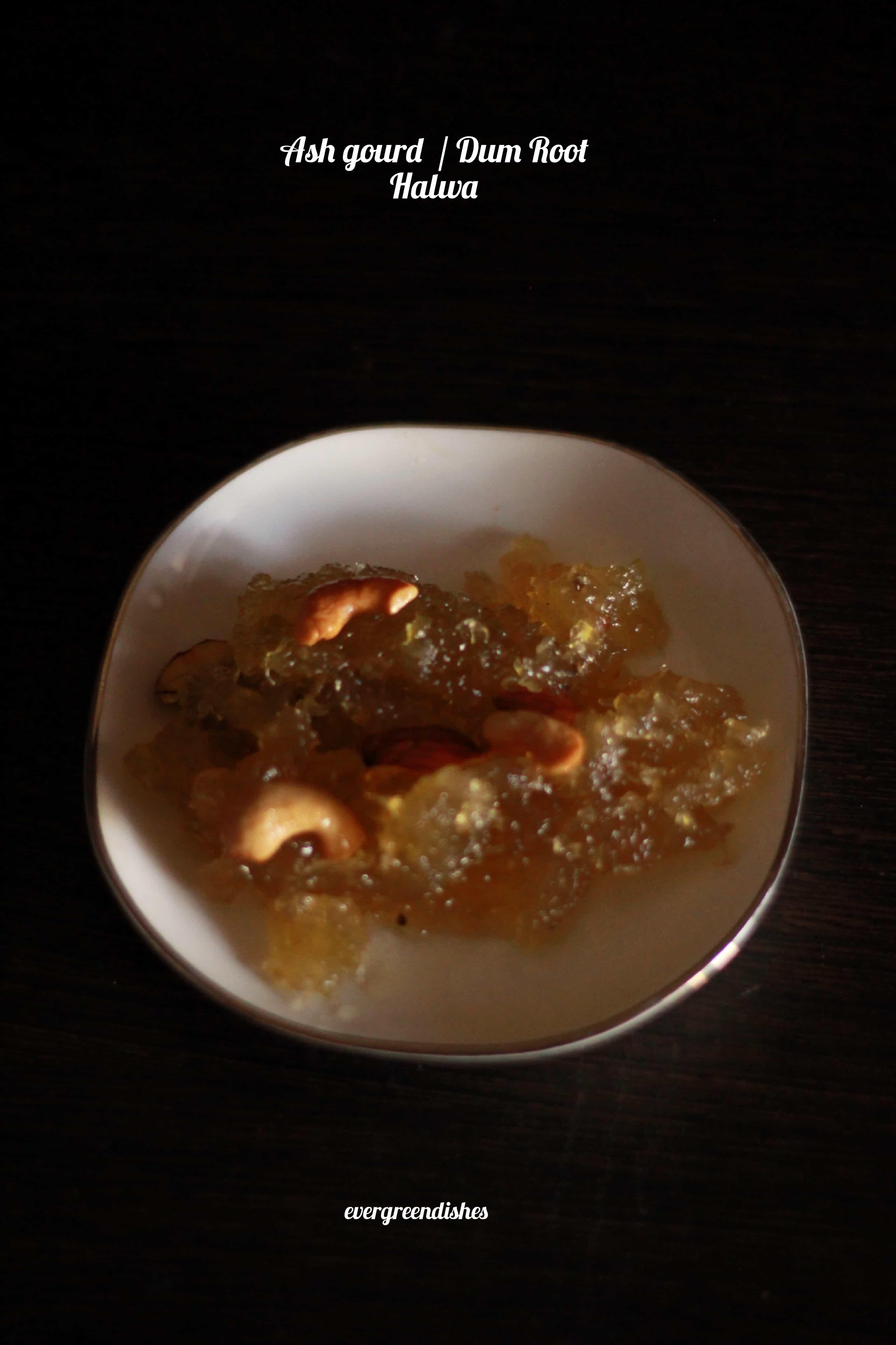 Ash gourd halwa / dum root halwa