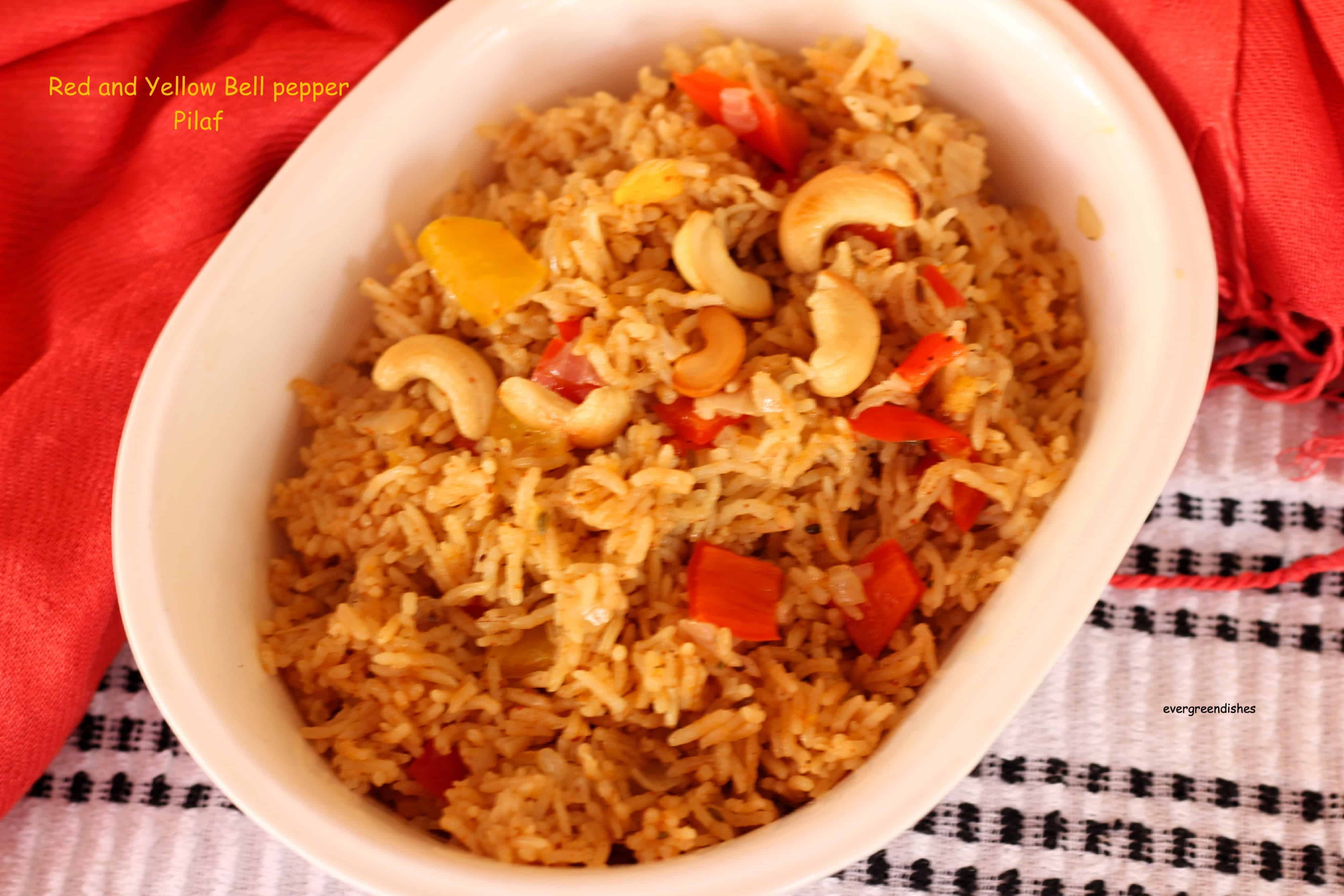 red and yellow bell pepper pilaf