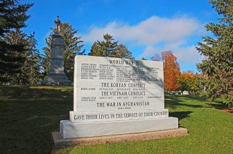 view of War Memorial Marker from east side