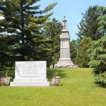 view of War Memorial Marker and Soldiers Monument from east side