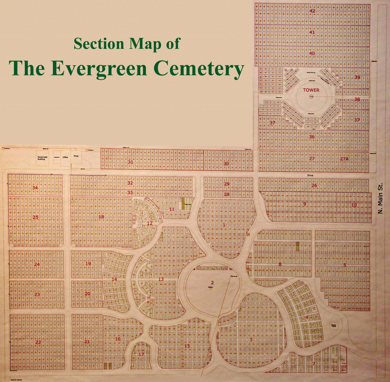 Section Map of the Evergreen Cemetery