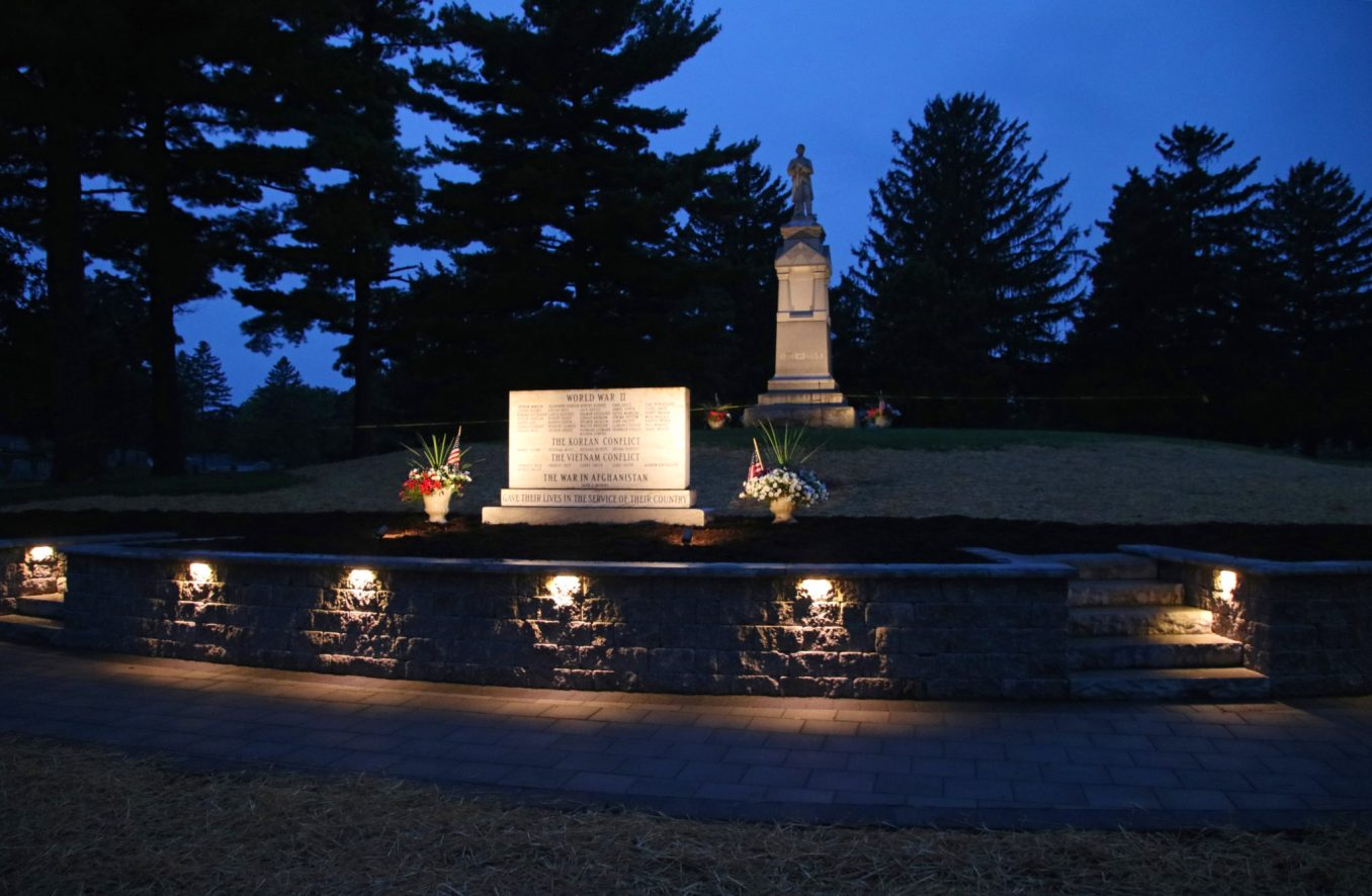 The Memorial Court illuminated