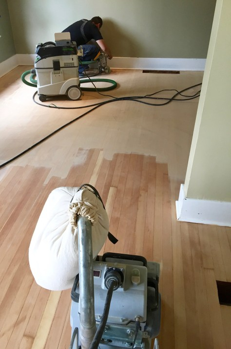 In Progress - fir hardwood floor refinish