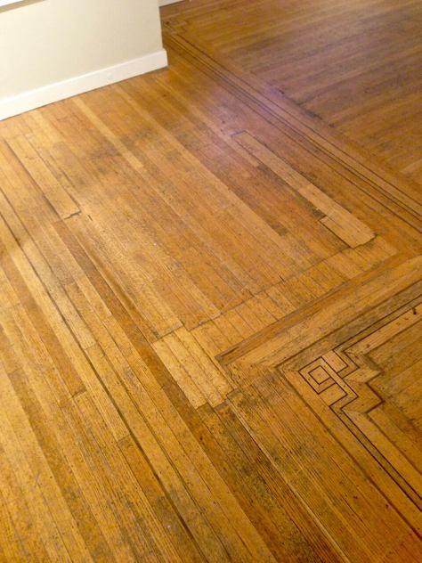 BEFORE - oak hardwood floor repair