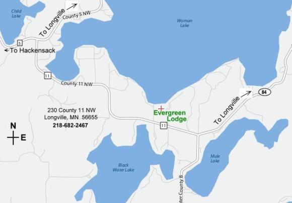 Evergreen Lodge on Woman Lake MN Location Map