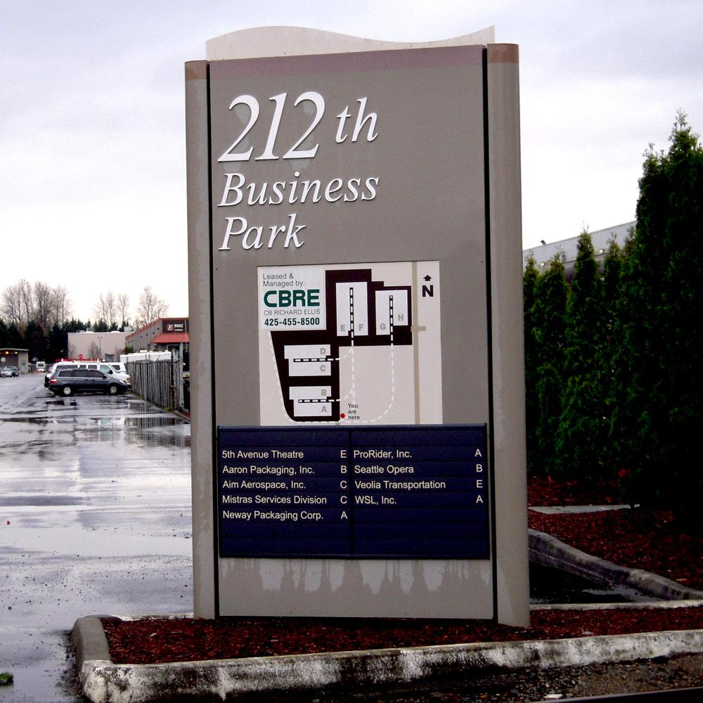 Business park directory signage can be unique and functional. A simplified design with custom fabrication can elevate the look and feel of the large property signage.