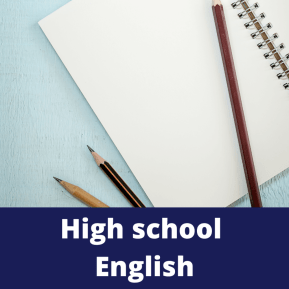 High School English tutoring for high school English . Pencils and paper against a blue background