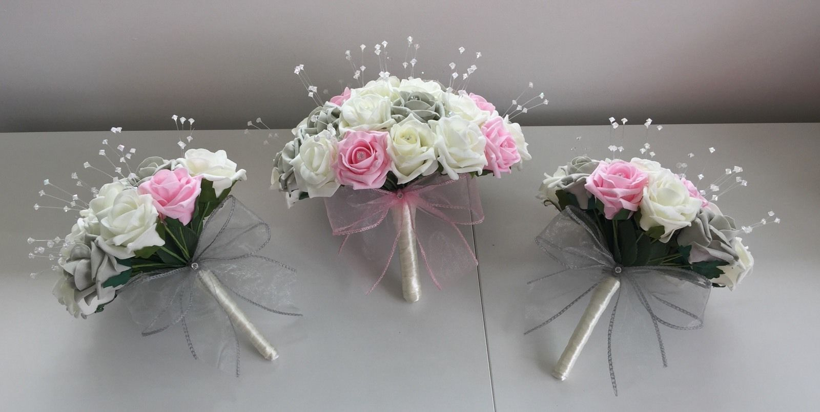 ARTIFICIAL WEDDING FLOWERS PINK IVORY SILVER GREY ROSE