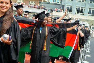 Graduates at a Cornell University ceremony