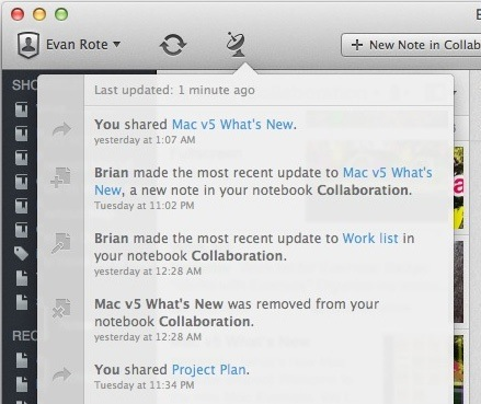 A screenshot showing the Activity Feed and the new Share Banner at the top of a Shared Note.