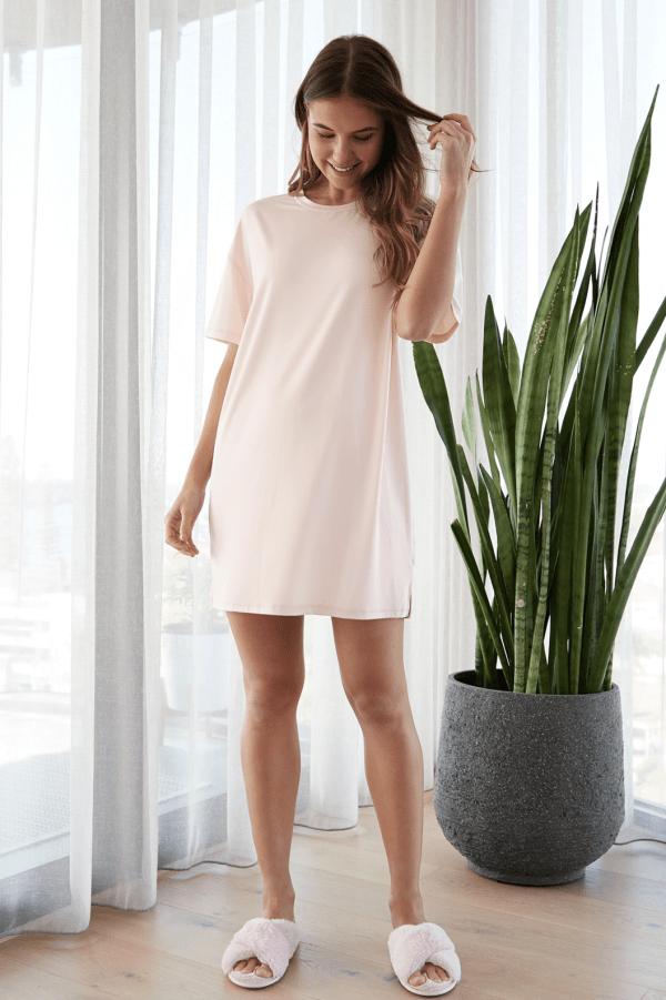 Ali Sleepwear Tee Dress Blush 1