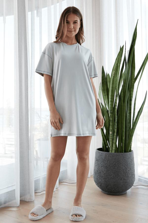Ali Sleepwear Tee Dress Sage 1