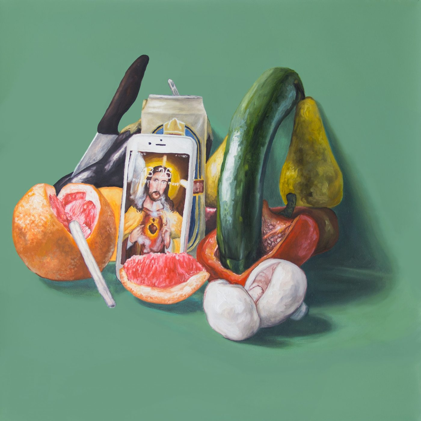 canvas with fruits and vegetables
