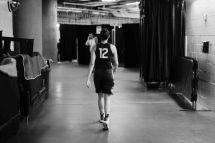 University of Connecticut #12 Saniya Chong walks toward the next ESPN Tease Shoot location.