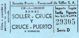 Ticket for Ferrocarril de Sóller, a tram on the island of Majorca