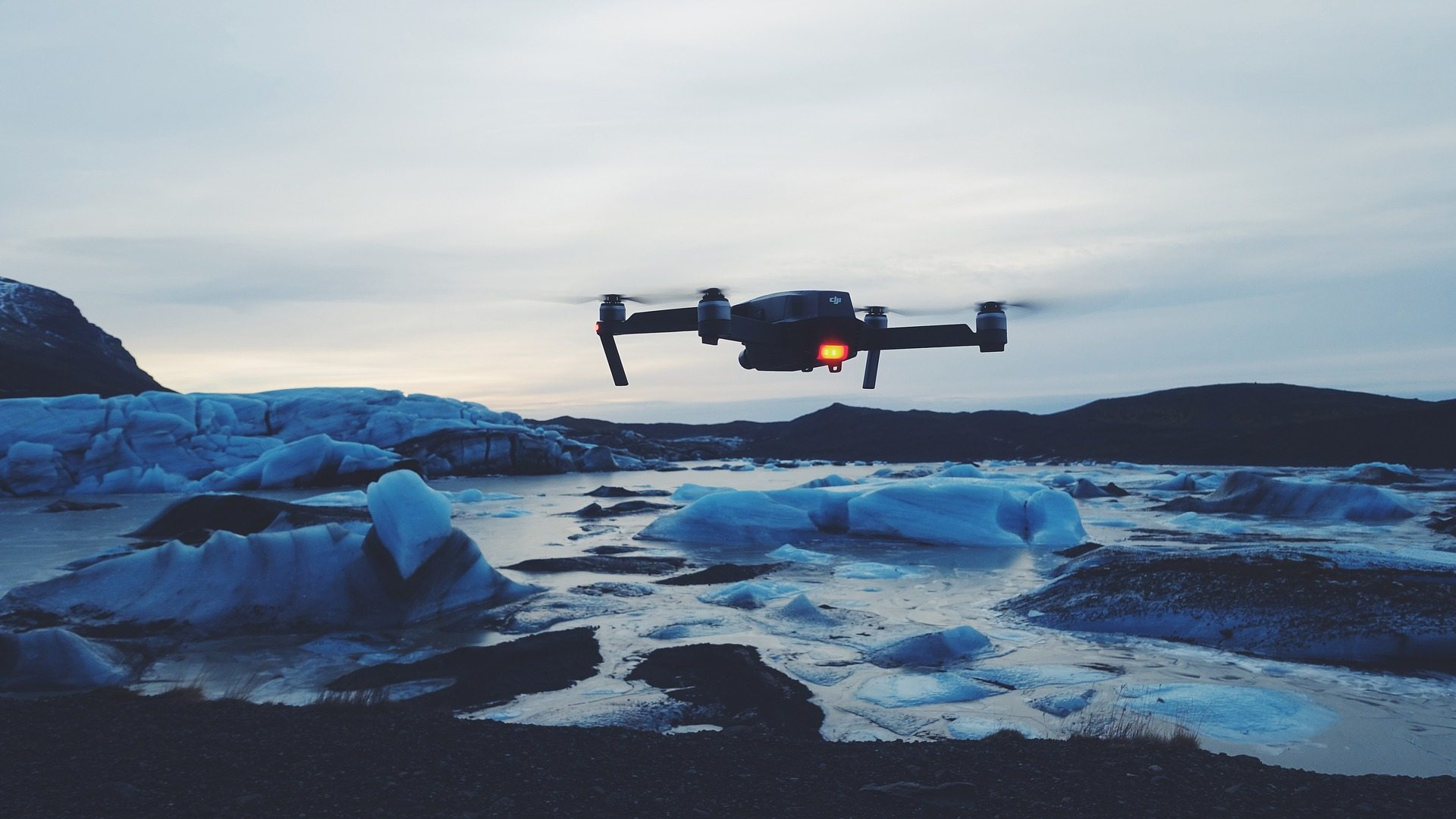 Image: Drone above an icy body of water