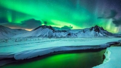Image: Midnight aurora borealis in Iceland
